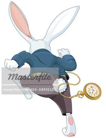 Illustration of white rabbit running away