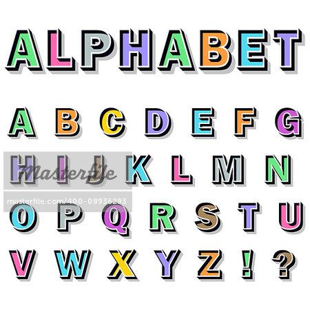 3-d english alphabet on white background. Vector illustration.