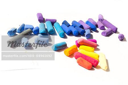 Pastel crayons isolated on white background