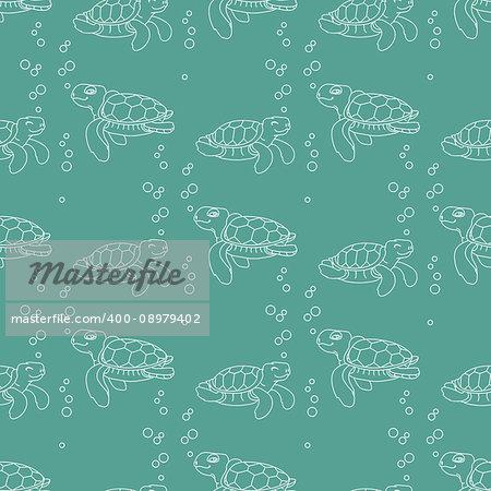 Vector seamless pattern. Silhouette cute cartoon sea Turtle. Line style Turtles on blue aquamarine background.
