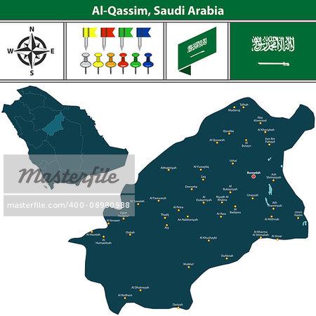 Vector map of Al Qassim region with flag, icons and location on Saudi Arabian map.
