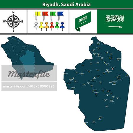 Vector map of Riyadh region with flag, icons and location on Saudi Arabian map.