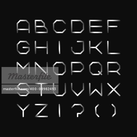 Metal font. Iron english alphabet. Steel gradient latin letters.