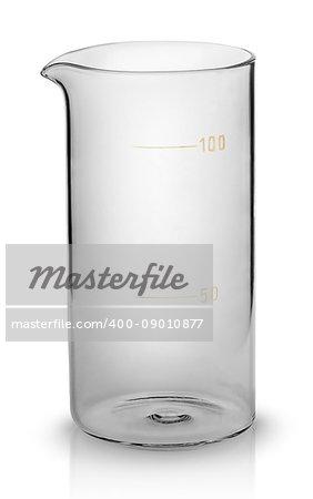 Graduated measuring beaker isolated on white background