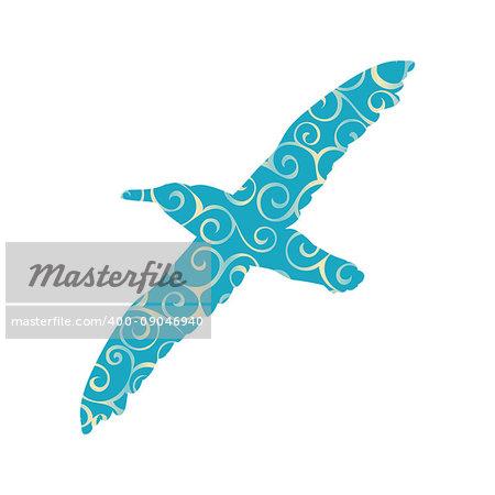 Gull bird color silhouette animal. Vector Illustrator.