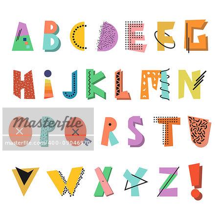 Memphis alphabet. Colorful funny font. Fashion 80s-90s