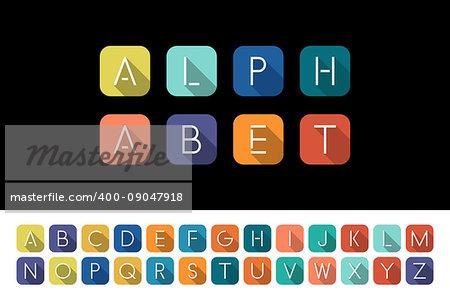 Flat icons alphabet - bright colorful flat design.