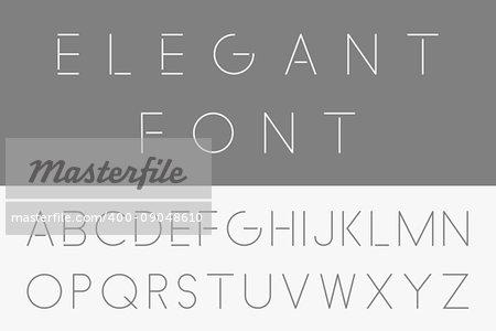 Thin minimalistic font. Vector english alphabet - Elegant design.