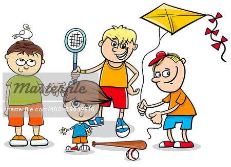 Cartoon Illustration of Kid Boys Children Characters Group