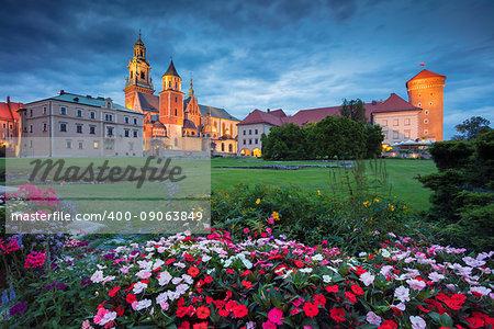 Image of Wawel Castle in Krakow, Poland during twilight blue hour.