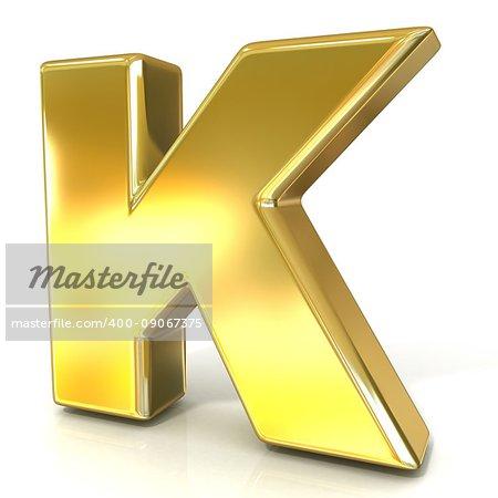 Golden font collection letter - K. 3D render illustration, isolated on white background.
