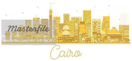 Cairo Egypt City skyline golden silhouette. Vector illustration. Business travel concept. Cityscape with landmarks.