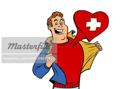 Switzerland patriot man isolated on white background. Comic cartoon style pop art illustration vector retro