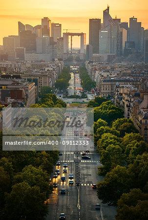 View on the modern district la Defense in Paris