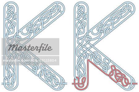 Maze in the shape of capital letter K - worksheet for learning alphabet