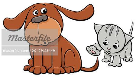 Cartoon Illustration of Puppy and Cute Little Kitten Pet Animal Characters