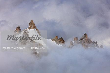 Mont Blanc massif. View from Aiguille du Midi Mount 3842 m France