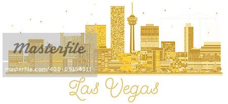 Las Vegas USA City skyline golden silhouette. Vector illustration. Business travel concept. Cityscape with landmarks.