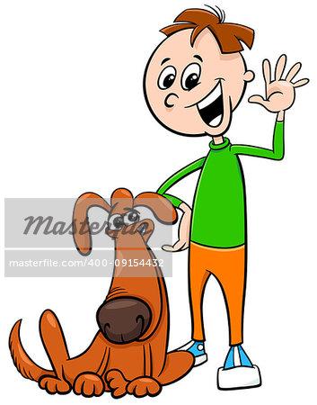 Cartoon Illustration of Kid or Teen Boy with Funny Dog