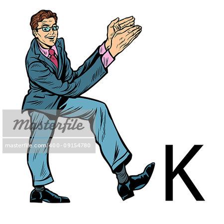 letter K kay. Business people silhouette alphabet. Pop art retro vector illustration kitsch vintage drawing