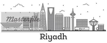 Outline Riyadh Saudi Arabia City Skyline with Modern Buildings Isolated on White. Vector Illustration. Riyadh Cityscape with Landmarks.