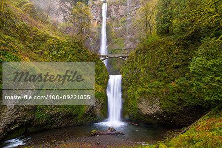 Multnomah Falls by Benson Bridge at Columbia River Gorge Oregon in Spring Season