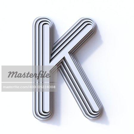 Three steps font letter K 3D render illustration isolated on white background