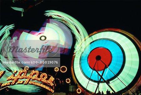 Amusement Park Rides at Night Canadian National Exhibition Toronto, Ontario, Canada