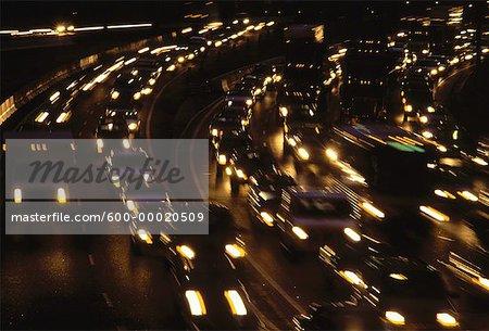 Traffic on Highway 401 at Night Toronto, Ontario, Canada