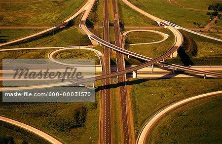 Aerial View of Highway Cloverleaf