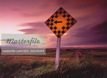 Road Sign at Sunset, Near Picker Creek, Alberta Canada