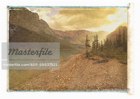 Mountains and Lake at Sunrise Jasper National Park Alberta, Canada