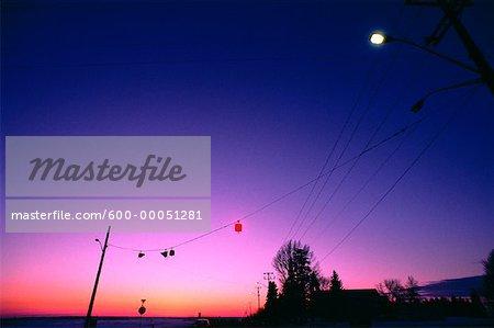 Traffic Light near House in Winter at Sunset Alberta, Canada
