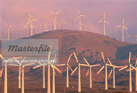 Wind Turbines in Haze on Hill California, USA
