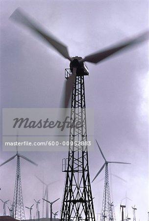 Wind Turbines and Clouds California, USA