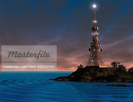 Transmission Tower on Island at Dusk