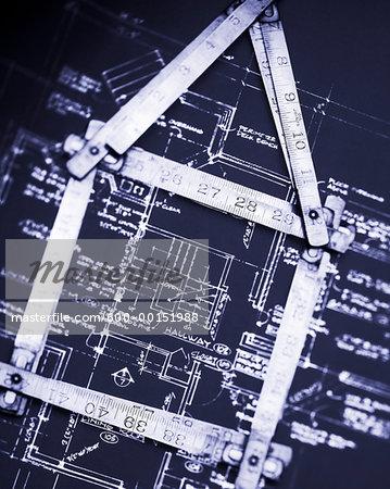 Ruler on House Blueprints