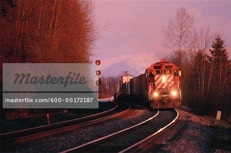 Train and Train Tracks, Fraser Valley, British Columbia, Canada