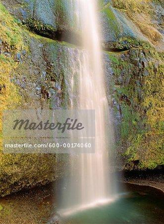 Base of Upper Multnomah Falls, Columbia River Gorge, Oregon, USA
