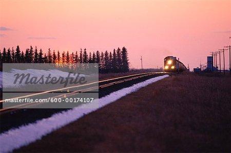 Train at Sunset, Canadian Prairies, Canada