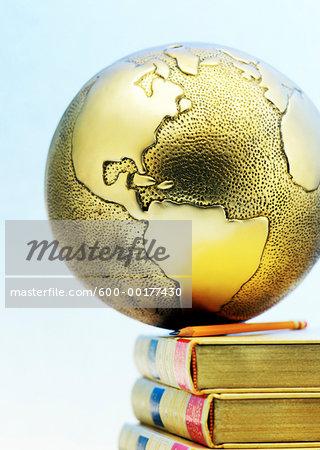 Close-Up of Globe on Books