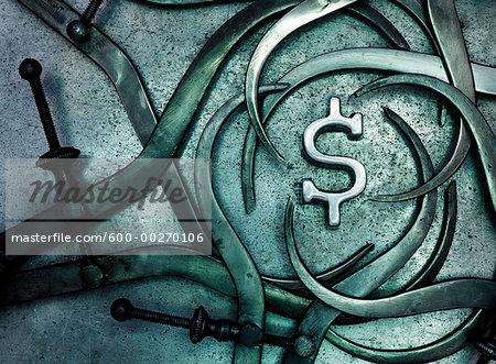 Callipers around Dollar Sign