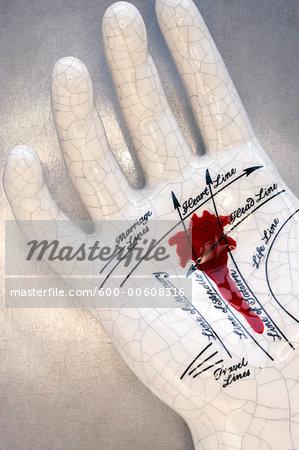 Bloody Ceramic Palmistry Hand