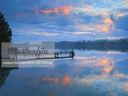 Lake Pilsensee and Dock, Bavaria, Germany