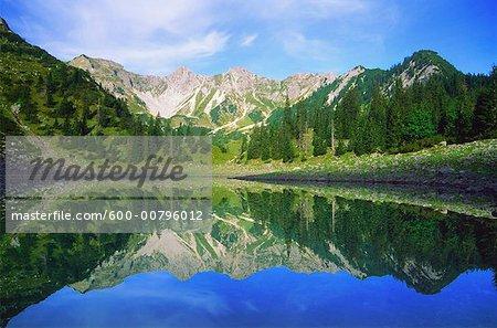 Karwendel Mountains Reflected in Soiernsee, Bavaria, Germany