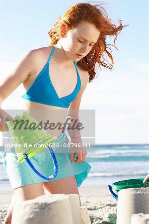 Girl Making Sandcastles