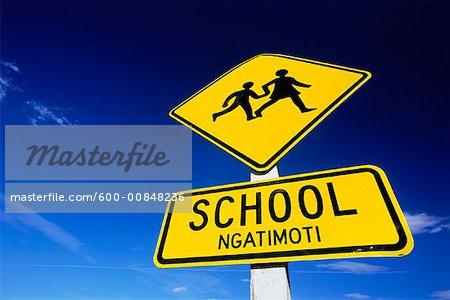 School Crossing Sign, South Island, New Zealand