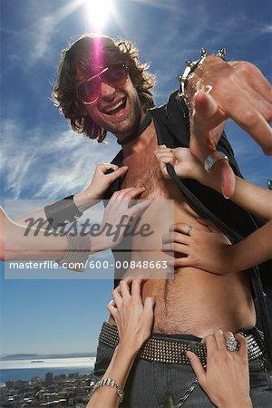 Women's Hands Touching Man