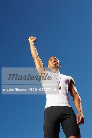 Portrait of Athlete Wearing Medal
