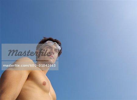Man Wearing Swim Goggles
